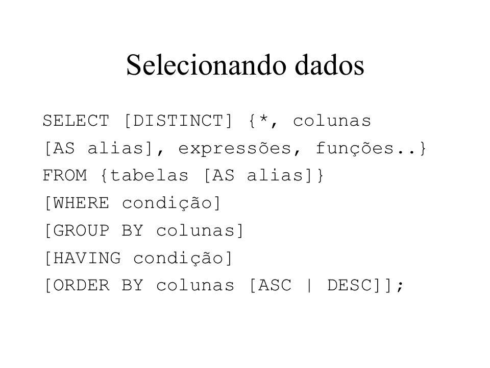 Selecionando dados SELECT [DISTINCT] {*, colunas